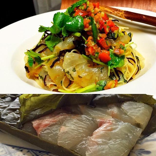 姐さん、おはよーございます。  二月吉日、アレ作りました✨  半額の鯛をミッケたのは… 夕飯を食べ終えた後のスーパーで 迷わず、昆布〆に✌️ 風味、増し増し トマトのだしも追加、細麺カッペリーニにて。  これ、美味か〜鯛✨✨  美味しいレシピありがとうございます  以上、夕飯後に半額の鯛をミッケたら、昆布〆にして翌日にアレ作る鯛 のススメでした(ーΩー ) - 201件のもぐもぐ - 千尋さんのアレ‼︎美味しいアレです鯛 by tata3