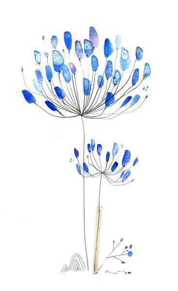Acuarela* preciosa por su simplicidad, agapanthe, aquarelle, cécile hudrisier
