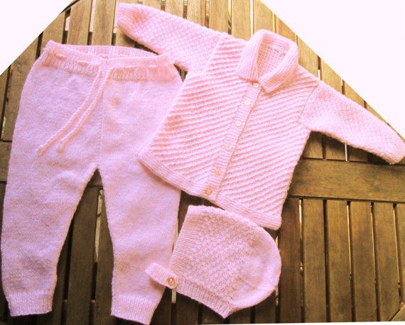 Baby infant girl hand knitted pale pink matinee by bebbyjumpers
