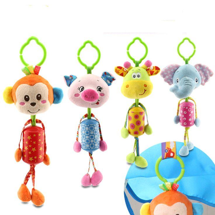 Lovely baby stroller hanging toys plush hewan campanula bayi guncang ponsel musik klasik toys hadiah wj295