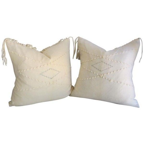 White Southwestern Blanket Fringe Pillows - A Pair ($289) ❤ liked on Polyvore featuring home, home decor, throw pillows, white home accessories, white throw pillows, white toss pillows, white home decor and fringed throw pillows