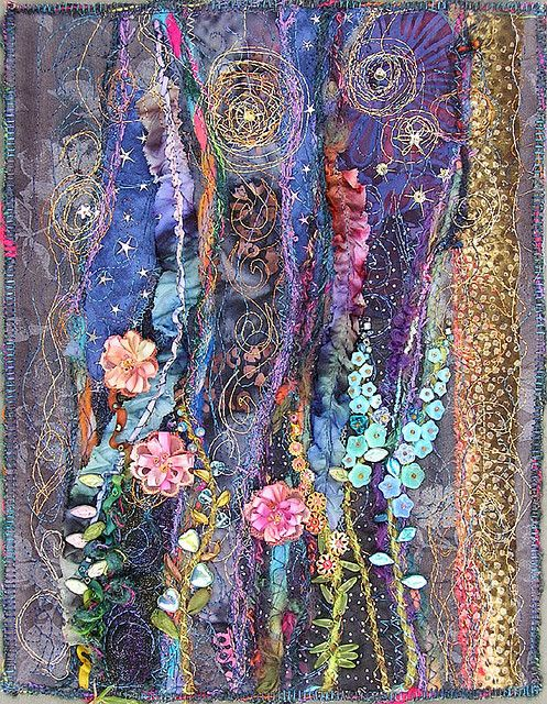 Night Garden (quilt)    Can you believe that it started as fabric and thread..Oh yes and one amazing artist!
