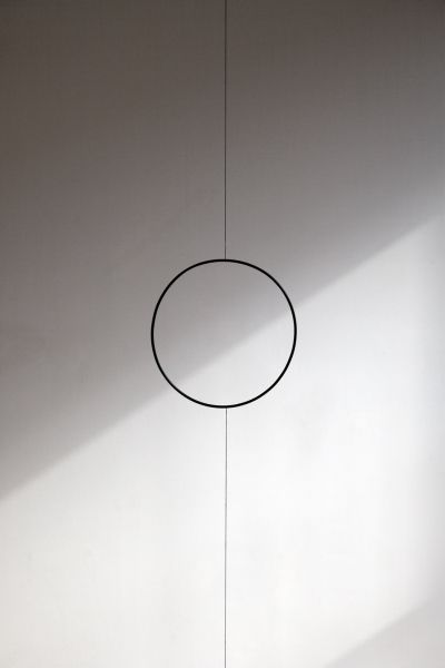 3leapfrogs:  dromik:  Stephen Lichty - Ring,2013. Black oxidized steel and string Diameter 10 x 3/16 in. Overall dimensions variable  •=• •=...