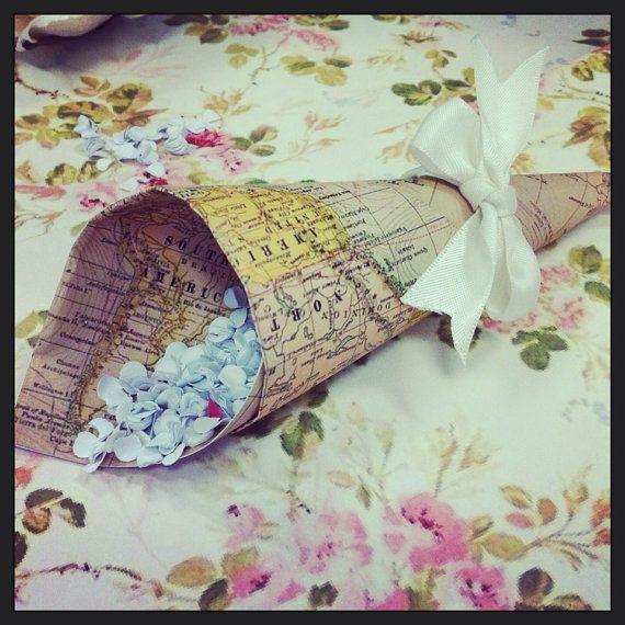 Confetti cones - vintage atlas map design tied with ivory ribbon x 50 - Wedding Confetti Cones on Etsy, £30.00