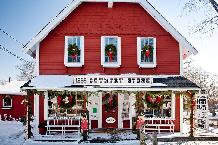 1856 Country Store decorated for the holidays in Centerville Village-Barnstable, Cape Cod, MA.