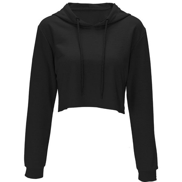 Bali Halif Belly Black Sweatshirt featuring polyvore women's fashion clothing tops hoodies sweatshirts sweaters
