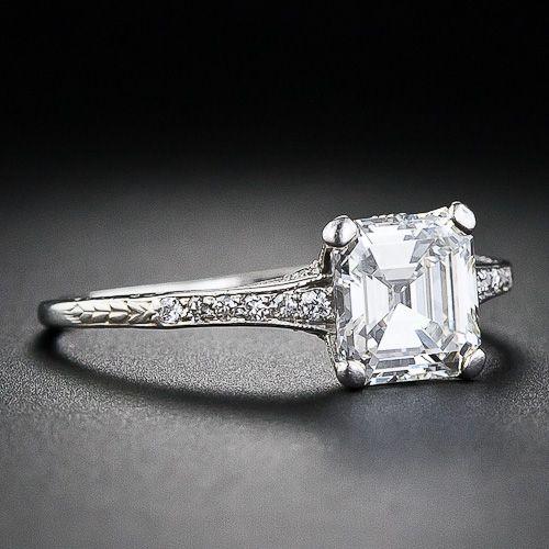 1.05 Carat Square Emerald-Cut Diamond Edwardian Engagement Ring - 10-1-4540 - Lang Antiques. Simple and elegant