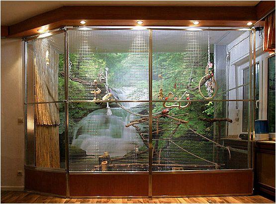 GREAT idea for a parrot enclosure!
