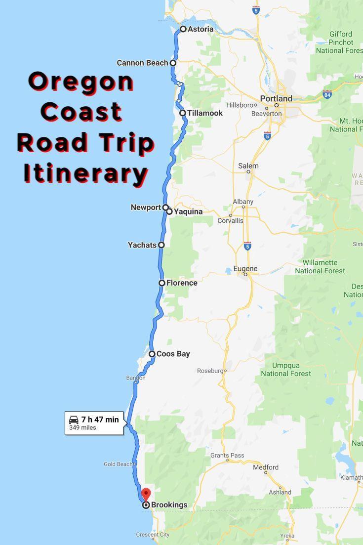 oregon west coast map Oregon Coast Road Trip Itinerary Nature At Its Best Oregon Road oregon west coast map