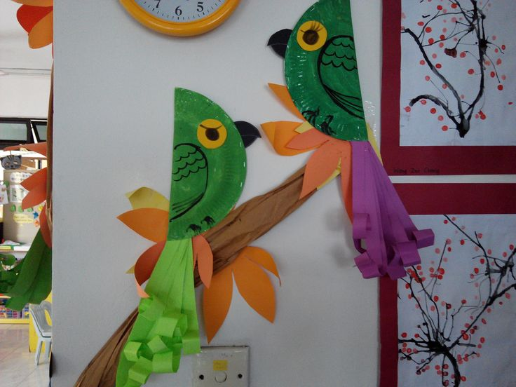 Kids Craft - Paper Plate Parrots