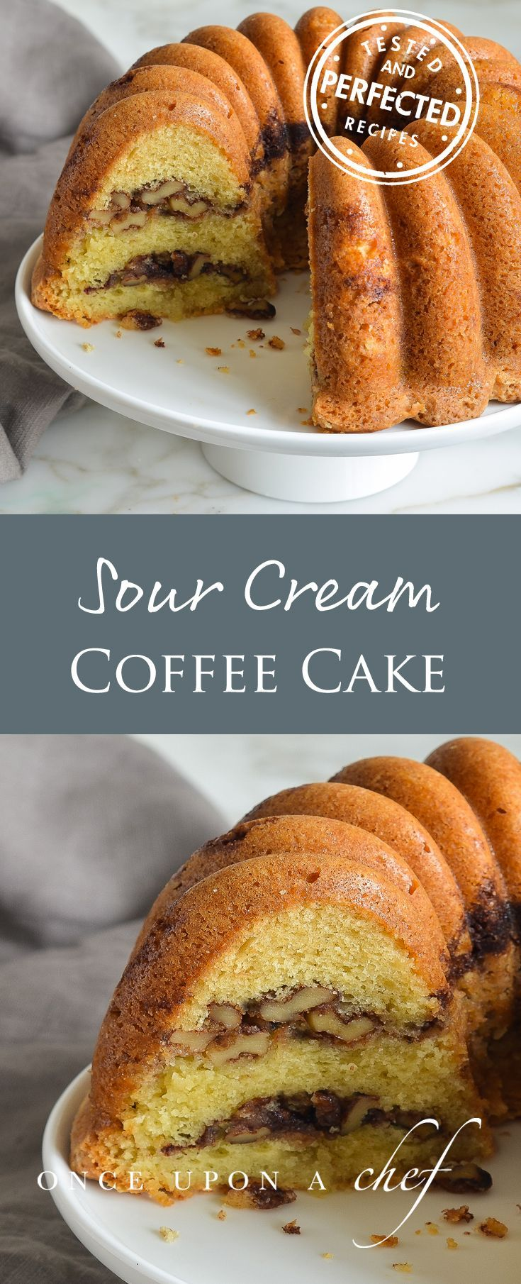 A classic coffee cake is one of the handiest things to have in your baking repertoire - this one is easy, made with sour cream, butter, brown sugar and cooked in a bundt pan. If you love cinnamon rolls, the cinnamon-walnut swirl delight you. #bundtbakers #bundt #cake #testedandperfected #cinnamon #cinnamonrolls