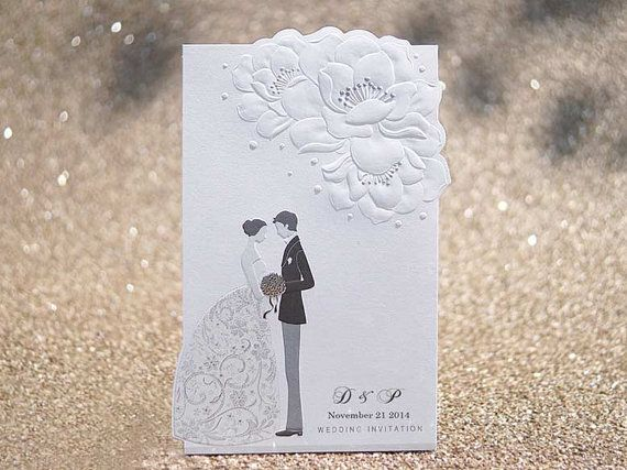 Custom White Bride and Groom / Flower Embossed Wedding Invitations - IT121 - Free Envelopes & Silver Seals - Free Shipping Promotion