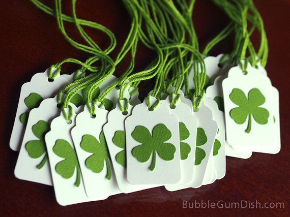 Paper Irish Shamrocks Mini Gift Tags Set of 6 St by BubbleGumDish