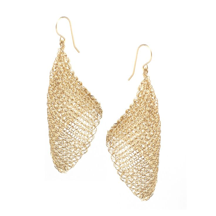 CALLA gold wire crochet earrings , long elegant crocheted earrings