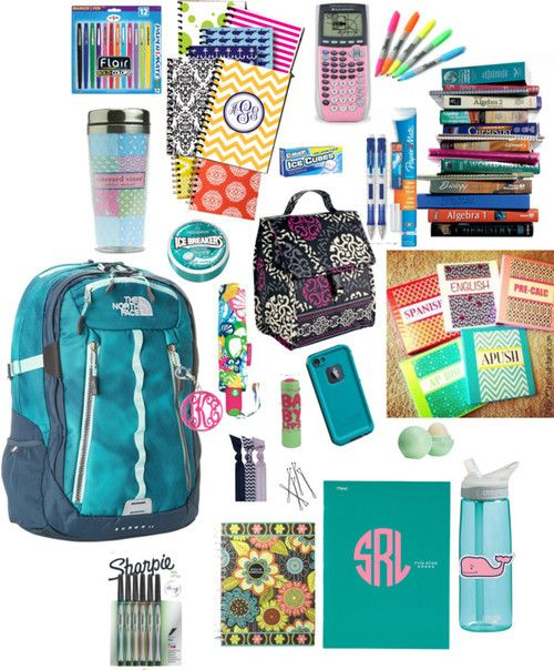 School supplies by mgm12 featuring a vera bradley lunch bag ❤ liked on PolyvoreThe North Face padded laptop bag / Tech accessory / Lilly Pulitzer umbrella / Emi Jay elastic hair tie / Acrylic key chain / Eos lip care, $17 / 4-Pocket Paper Folder (33106) | MEAD / Vera bradley lunch bag / Vera Bradley 2015 Agenda / Assorted Colors Sharpie Pen Stylo Fine 6/Pkg 1802225 / Ice Breakers Sugar Free Mints, Wintergreen, 1.5-Ounce Tins (Pack of… / Ice Breakers Ice Cubes Sugar Free Gum, ...