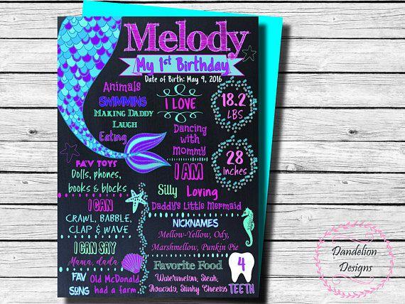 Mermaid 1st birthday Mermaid chalkboard Mermaid party