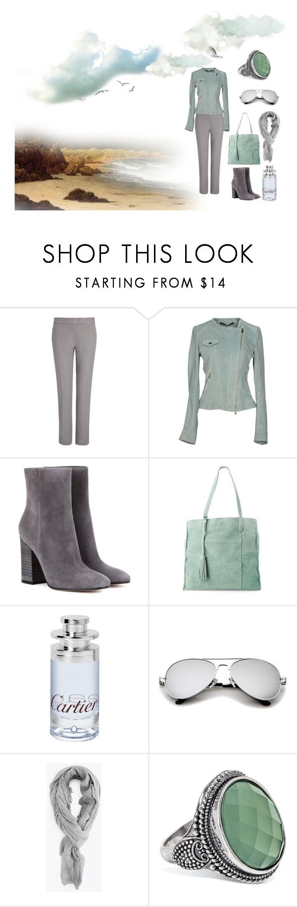 """""""TRADE WINDS"""" by suninvirgo ❤ liked on Polyvore featuring Joseph, Annarita N., Gianvito Rossi, Moda Luxe, Cartier, mint and gray"""