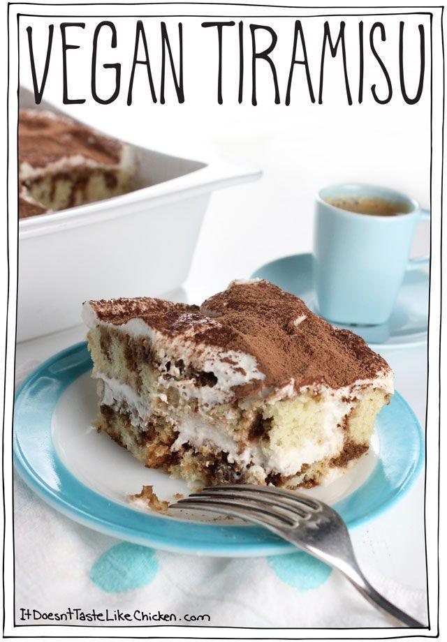 Vegan Tiramisu! Sweet fluffy sponge cake + liqueur spiked espresso sauce + fluffy clouds of cashew coconut cream= pure blissful heaven. Dairy free and egg free. #itdoesnttastelikechicken
