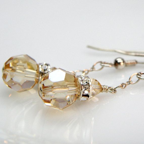 Champagne Crystal Earrings, Sterling Silver, Wedding, Bridal, Handmade Jewelry Spring Fashion