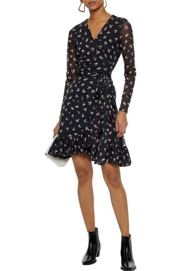 Black Tilden Floral Print Mesh Mini Wrap Dress Sale Up To 70 Off The Outnet Ganni Mini Wrap Dress Wrap Dress Sale Fashion