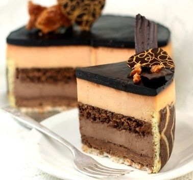 Peanut Butter and Chocolate Cake (Entremet)  Layers of Texture..creamy, crunchy, 'cakey' etc.