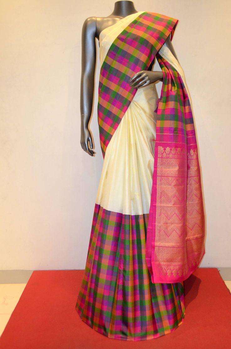 Kanjeevaram Saree With Colorful Checks Border Product Code: AB210503 Online Shopping: http://www.janardhanasilk.com/Kanjeevaram-Saree-With-Colorful-Checks-Border?search=AB210503&description=true