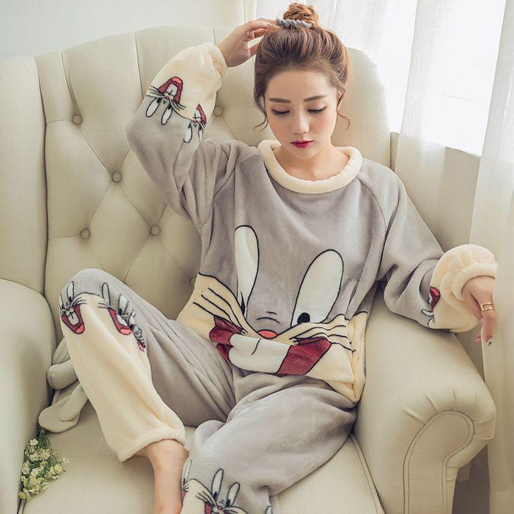 Women's Pajamas Autumn & Winter Flannel Pajamas Rabbit Women Long Sleeve Sleepwear Lovely Tops Pants Warm Pajamas Set