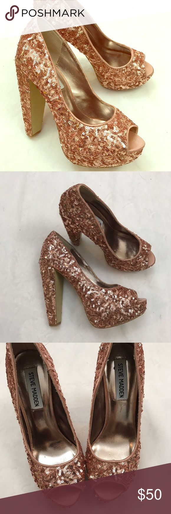 "Steve Madden Ali rose gold chunky heel Stunning rose gold sequin peep toe pumps. In EUC 5"" heel 1"" platform Steve Madden Shoes Heels"