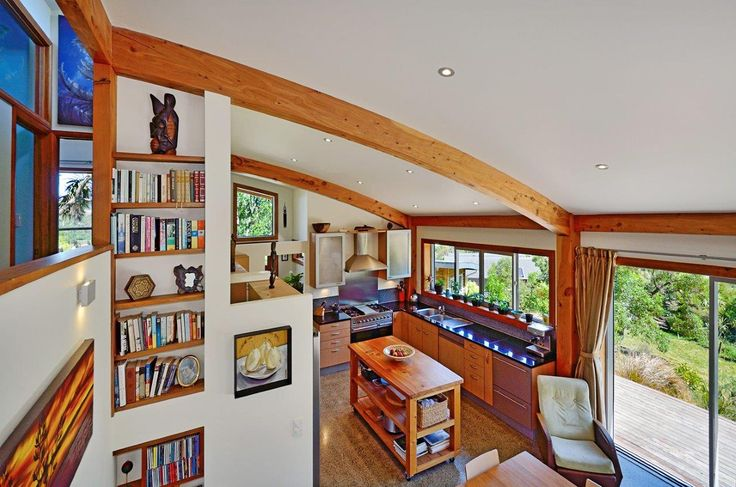 Curved roof beams give this home a contemporary feel.