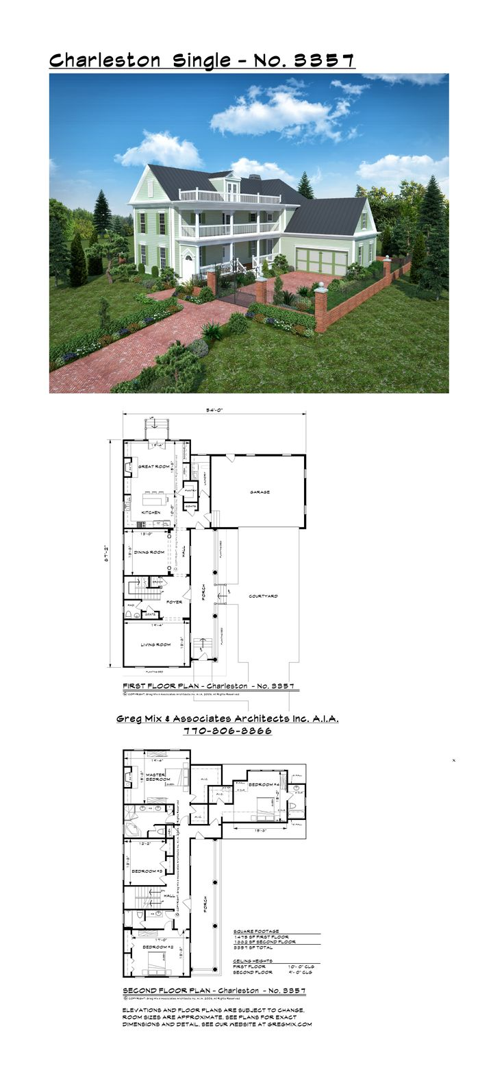 3357 SF Charleston Single style house plans. Contact GregMix@comcast.net