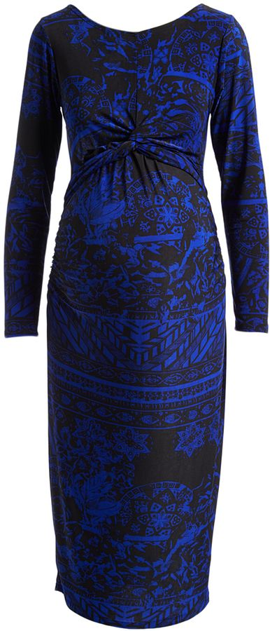 Glam Royal Blue & Black Abstract Ruched Maternity Bodycon Dress