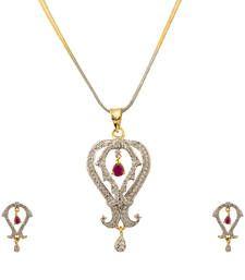 Buy Quail American Diamond Pendant set with chain necklace-set online
