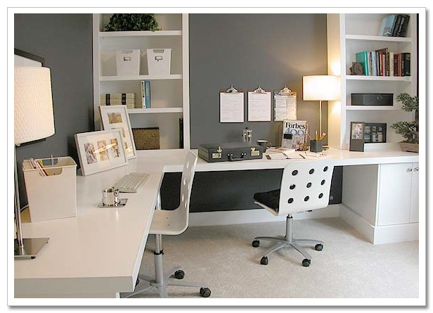 Home Office   Love The Dark Gray Wall Color And White Furniture.  #whiteofficefurniture