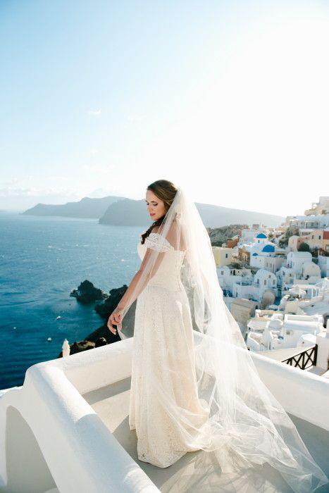 Bride posing in Santorini   Wedding Photographer   Teodora Simon