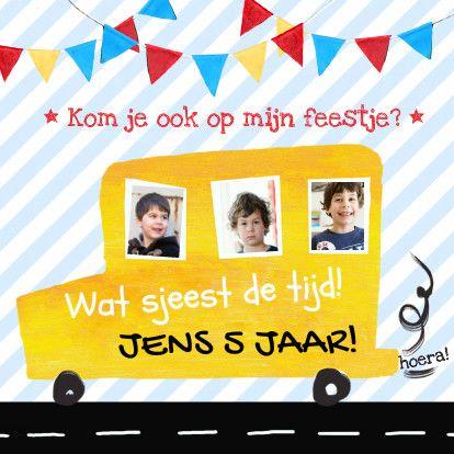 kinderfeestje jongen auto foto's - Uitnodigingen - Kaartje2go