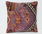 20x20 lounge kilim pillow purple throw pillow purple decorative pillow purple pillow case purple pillow cover purple kilim pillow sham 26209