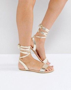 Flache Sandalen | Römer Sandalen, gold und silberfarbene