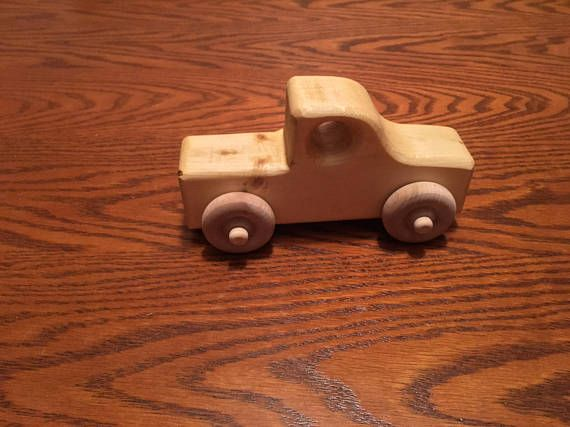 These are handmade wooden toy trucks made from pine. They have a shellac finish on them. The size is approximately 6 long, 3 1/4 tall, & 3 wide. These will provide hours of fun for children.