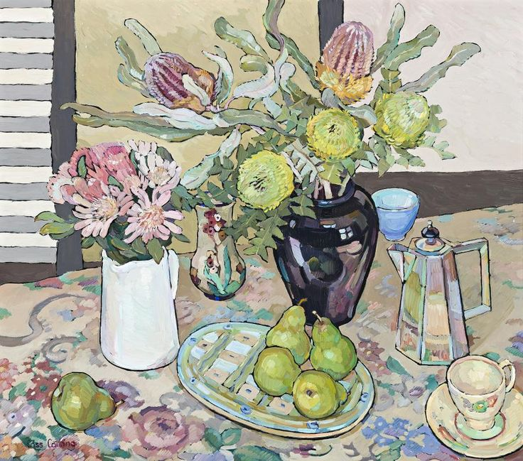 Still Life with Native, Flowers and Pears -Chriss Canning Australian Artist