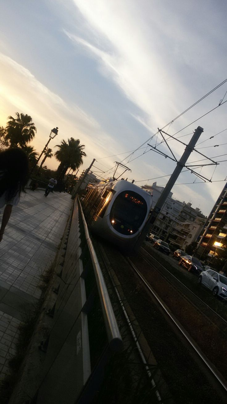 Edem tram station in sunset colors, Athens.