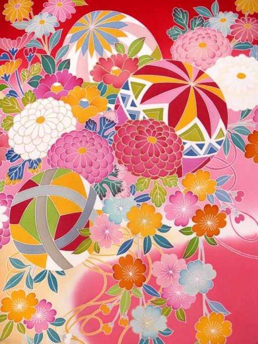 女の子用初着 お宮参り 赤ちゃんの着物 正絹 産着 販売 通販。お宮参り着物 正絹 手描友禅 女の子のお祝い着(初着・産着) 日本製「赤ぼかし 菊に鞠尽くし」HGU438
