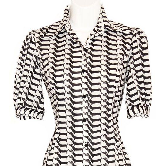 Graphic Mod Dress, Vintage, Black Dachshund Pattern, 1960s - Hipster - Mad Men - Dog - Patterned - Black and White - Rockabilly - Graphic - Shirt Dress