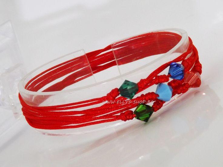 Set 5 bratari reglabile cristale swarovski Dimensiune cristale: 6mm Culori cristale: poza ( albastru, opal, roz- piersica, verde smarald, verde padure