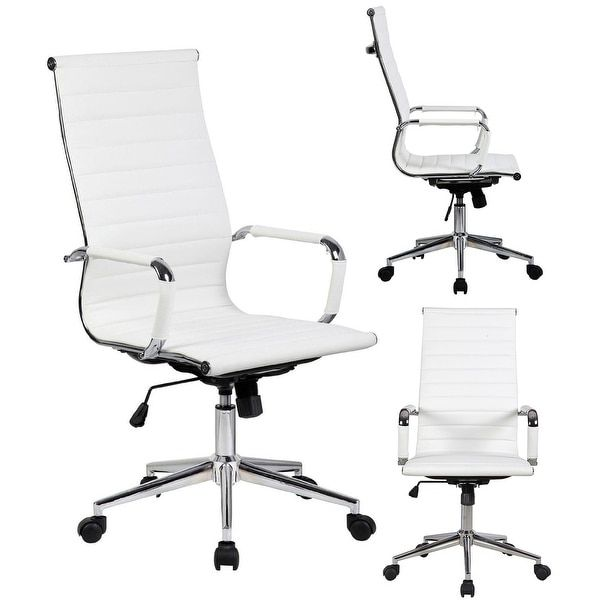 2xhome White Executive Ergonomic High Back Eames Office Chair Ribbed PU Leather Swivel for Manager Conference Computer Desk