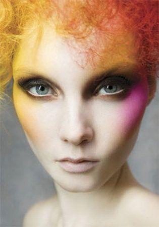 vibrant hi-fashion makeup look.