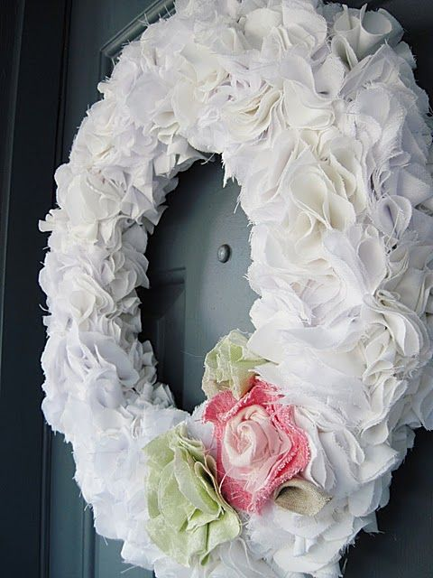 my white ruffly wreath(s)...I made 2... made from old bed sheets.