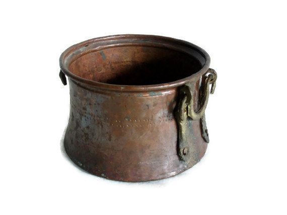 Etched vintage copper cauldron handmade turkish pot