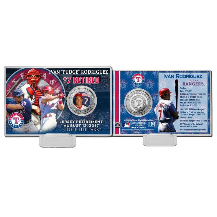 Ivan Rodriguez Texas Rangers Highland Mint Number Retirement Coin Card