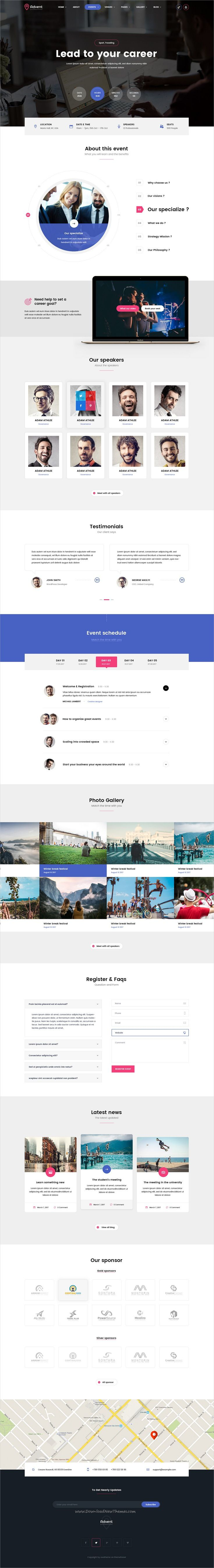 Advent is clean and modern design PSD template for #conference and #event management company website with 8 homepage layouts & 53 layered PSD pages download now #webdevelopment