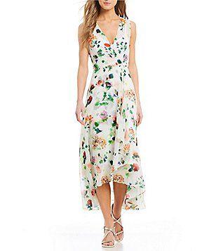 d34a8ac653 Calvin Klein Garden Floral Print Chiffon Midi Dress